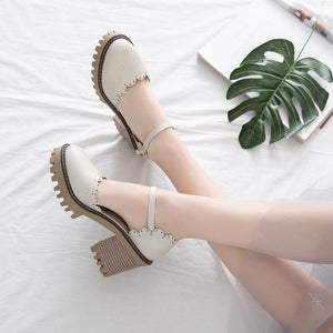 Square Head Hollow Buckle Strap Women Sandals Chunky Heeled Shoes