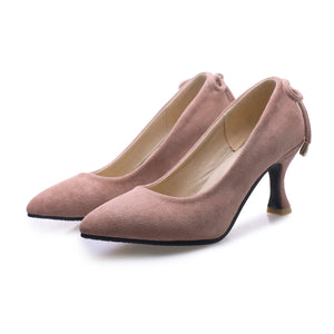 Pointed Toe Shallow Female Woman Pumps Stiletto Mid Heel Shoes