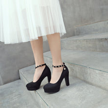 Load image into Gallery viewer, Ankle Strap Platform Pumps High Heeled with Buckle