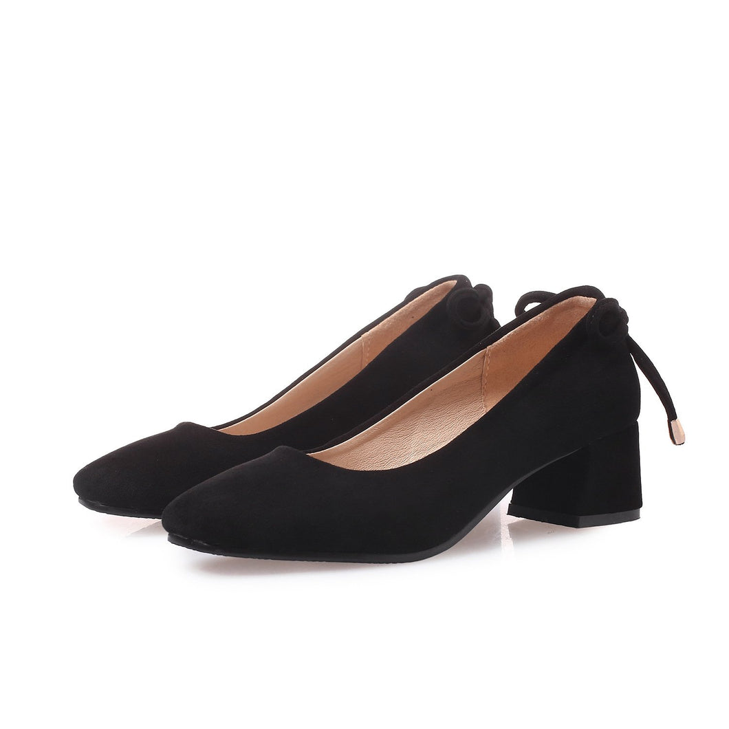 Lady Square Head Middle Heels Woman Chunkey Pumps
