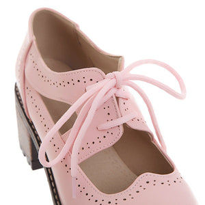 Cute Princess Middle Heeleded Shallow Mouth Women Chunkey Pumps