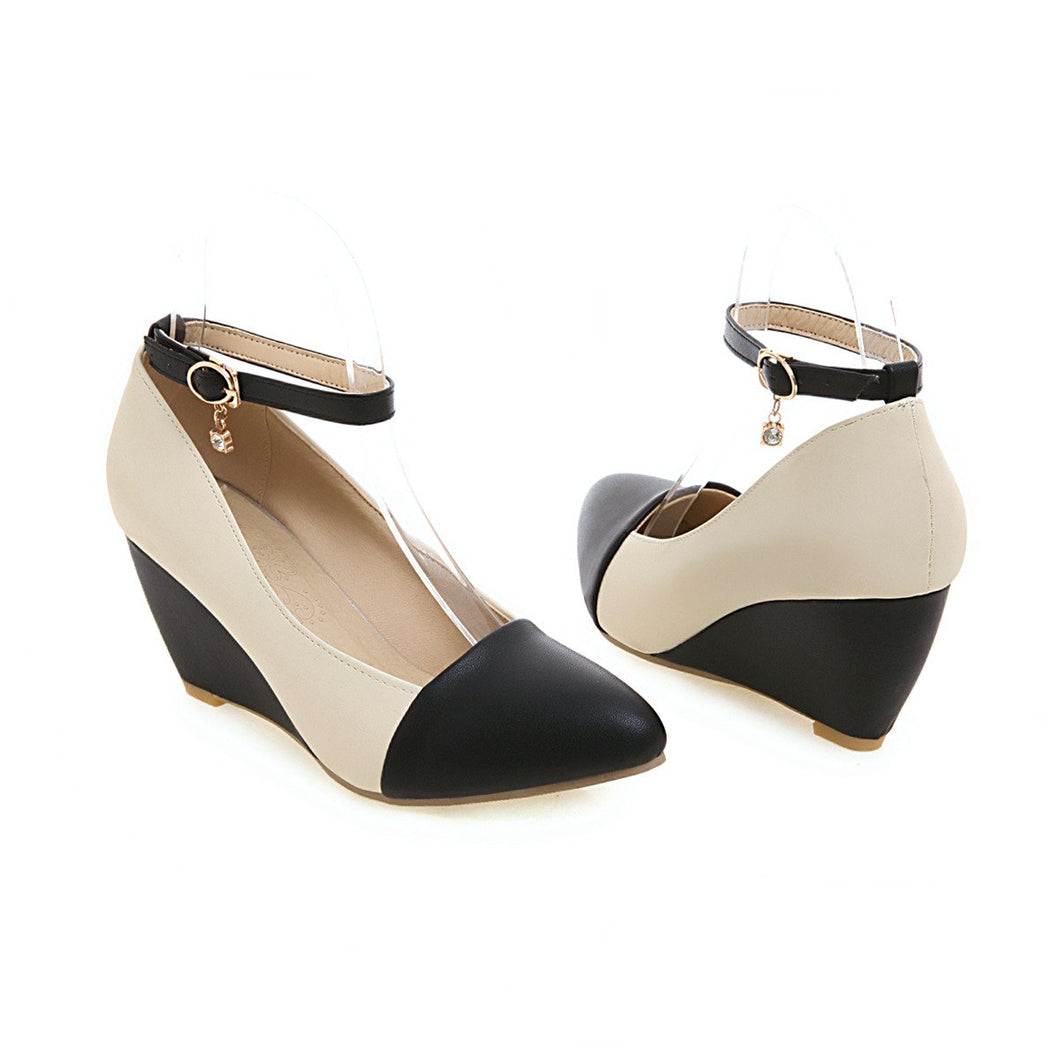 Casual Shallow Toe Ankle Straps Wedges Shoes Woman