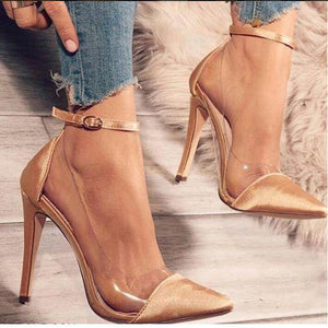 Sexy Buckle Super High Heeled Ankle Strap Pumps