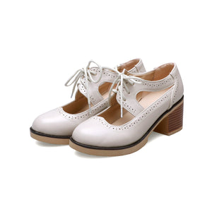Women's Chunkey High Heel Lace-up Shallow Toe Shoes