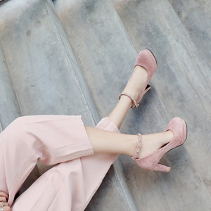 Ankle Strap Platform Pumps High Heeled with Buckle