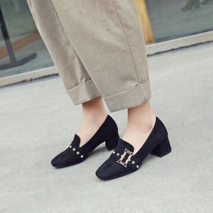 Middle Heeleded Shallow Square Head Women Chunkey Pumps