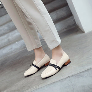 Woman Shallow Square Head Low Heeled Shoes