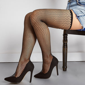 Sexy Hollow Long Socks Pointed Shallow Mouth Stiletto Heel