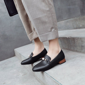 Woman's Square Head Low Heels Shoes