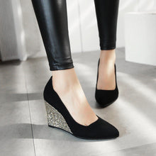 Load image into Gallery viewer, Casual Sequins High Heel Plus Size 33-43 Shallow Pointed Toe Wedges Shoes Woman