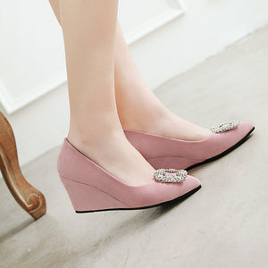Casual Rhinestone High Heel Shallow Toe 33-43 Plus Size Wedges Shoes Woman