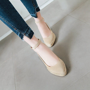 Casual Pointed Toe Platform Wedges Ankle Straps Buckle Women Shoes