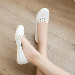 Women's Flower Low Heels Shoes