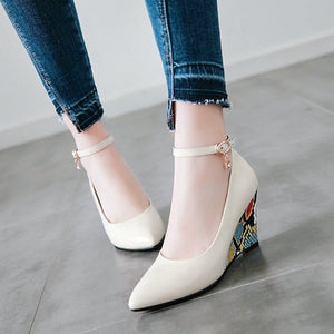 Casual Women's Floral Printed Ankle Straps Platform Wedges Shoes