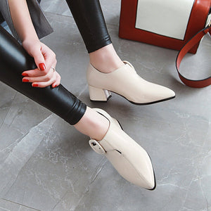 Patent Leather High Heeled Pointed Toe Block Heel Shoes