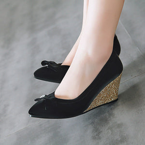 Casual Pointed Toe Shallow Mouth Sequined Wedges High Heeled Shoes