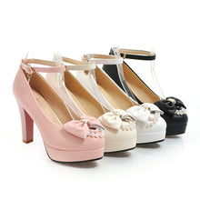 Load image into Gallery viewer, Super High Heeled Butterfly Knot Platform Pumps Ankle Straps Buckle Women Shoe