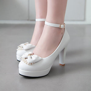 Super High Heeled Butterfly Knot Platform Pumps Ankle Straps Buckle Women Shoe