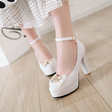 Load image into Gallery viewer, Knot Platform Pumps Ultra-High Heeled Thick Heel Ankle Strap Women Shoes