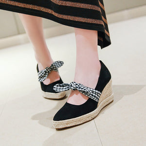 Casual Bowtie Platform Wedges Shoes Women 33-44
