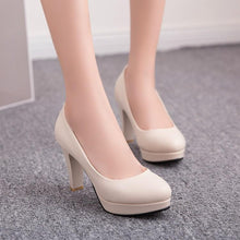 Load image into Gallery viewer, High Heeled Round Head Women's Platform Pumps Shoes