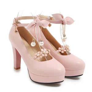Bowtie Ultra-High Heeled Thick Heel Ankle Strap Buckle Shallow Mouth Platform Pumps