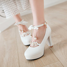 Load image into Gallery viewer, Bowtie Ultra-High Heeled Thick Heel Ankle Strap Buckle Shallow Mouth Platform Pumps