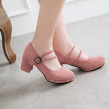 Load image into Gallery viewer, Buckle Pumps Thick Heels Shallow Mouth Women's Shoes
