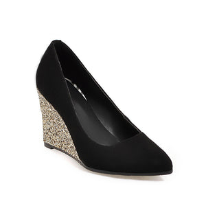 Casual Sequins High Heel Plus Size 33-43 Shallow Pointed Toe Wedges Shoes Woman