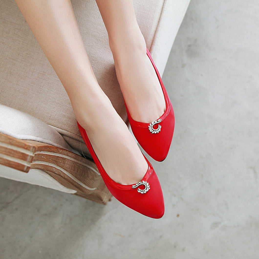 Woman Shallow Mouth Pointed Low Heeled Shoes