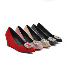 Load image into Gallery viewer, Casual Rhinestone High Heel Shallow Toe 33-43 Plus Size Wedges Shoes Woman