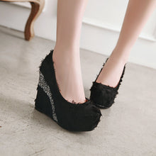 Load image into Gallery viewer, Casual Sequin Ultra-high Heel Platform 33-43 Size Shallow Toe Women Wedges Shoes