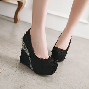 Casual Sequin Ultra-high Heel Platform 33-43 Size Shallow Toe Women Wedges Shoes