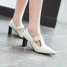 Load image into Gallery viewer, Pointed Toe High Heeleds Block Heel Shoes