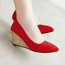 Load image into Gallery viewer, Casual Slope-heeled High-heeled Shallow-mouth Size 33-43 Wedges Shoes Women