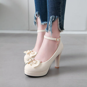Knot Platform Pumps Ultra-High Heeled Thick Heel Ankle Strap Women Shoes