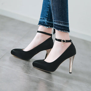 Pointed Toe Super High-heel  Buckle Shallow-mouth Women Platform Pumps Stiletto Heel