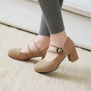 Buckle Pumps Thick Heels Shallow Mouth Women's Shoes