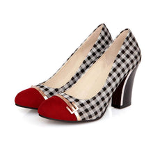 Load image into Gallery viewer, Plaid High Heeled Shallow Mouth Round Head Color Matching Women Pumps