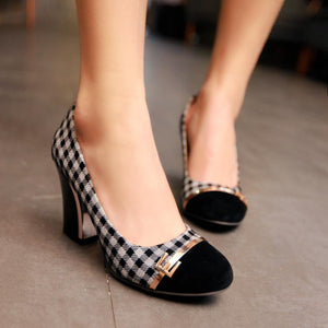 Plaid High Heeled Shallow Mouth Round Head Color Matching Women Pumps