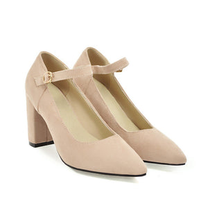 Pointed Toe Women Pumps Chunky Heeled Bride Shoes