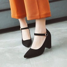 Load image into Gallery viewer, Pointed Toe Women Pumps Chunky Heeled Bride Shoes