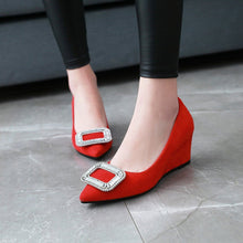 Load image into Gallery viewer, Casual Square Button Women ShoesSlope Wedges Heel Size 33-43 Rhinestone