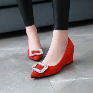 Casual Square Button Women ShoesSlope Wedges Heel Size 33-43 Rhinestone