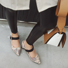 Load image into Gallery viewer, Pointed Toe Women Pumps Buckle Chunky Heeled Shoes