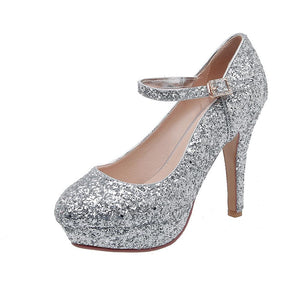 Sequins Wedding Shoes Ultra-High Heeleds Ankle Strap Shallow Mouth Women