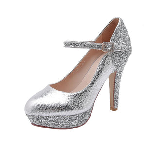 Women's Chunkey Heel Pumps High Heel Sequins Shoes