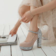 Load image into Gallery viewer, Super High-heeled Buckle Bridal Shoes Sequined Platform Pumps