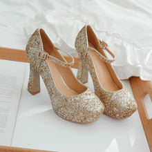 Load image into Gallery viewer, Women's Chunkey Heel Pumps Sequined Bridal Shoes High Heel Shoes
