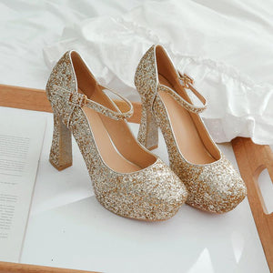 Women's Chunkey Heel Pumps Sequined Bridal Shoes High Heel Shoes